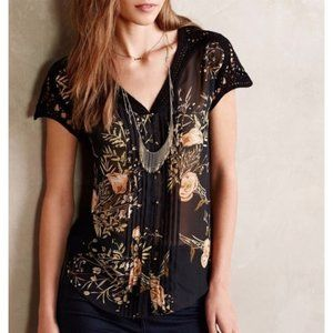 Meadow Rue Emberglow Button Sheer Floral Blouse